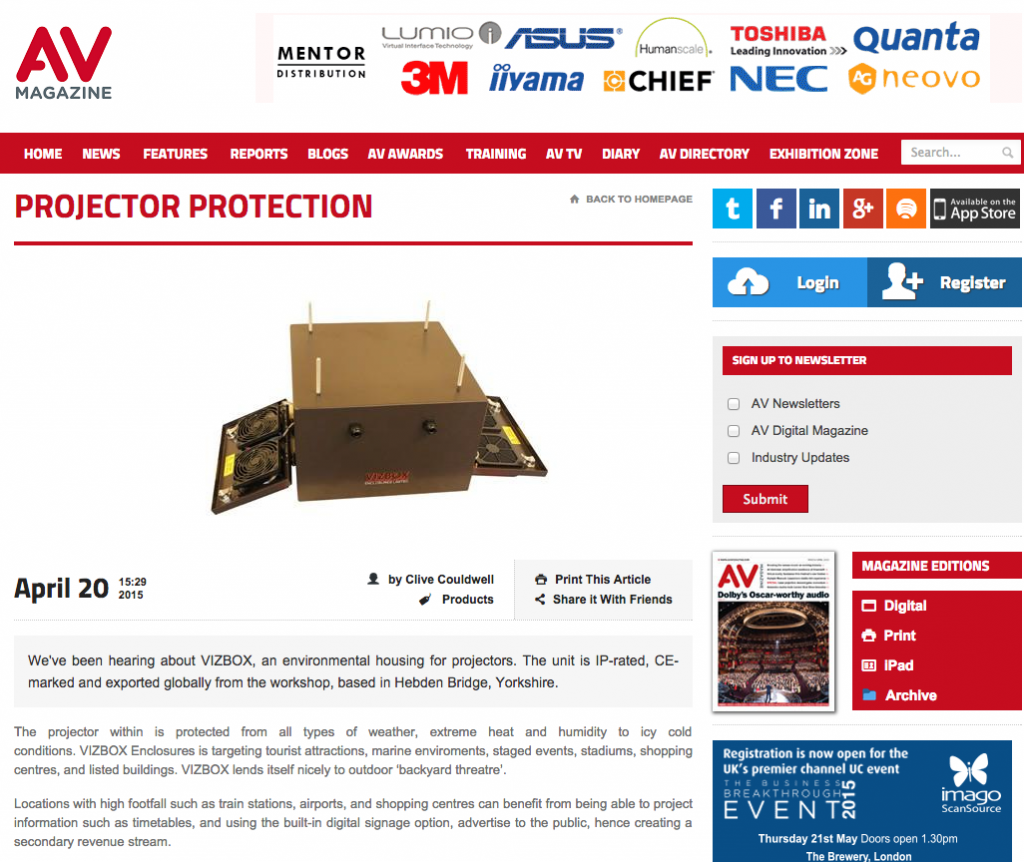 AV Magazine features outdoor projector enclosures