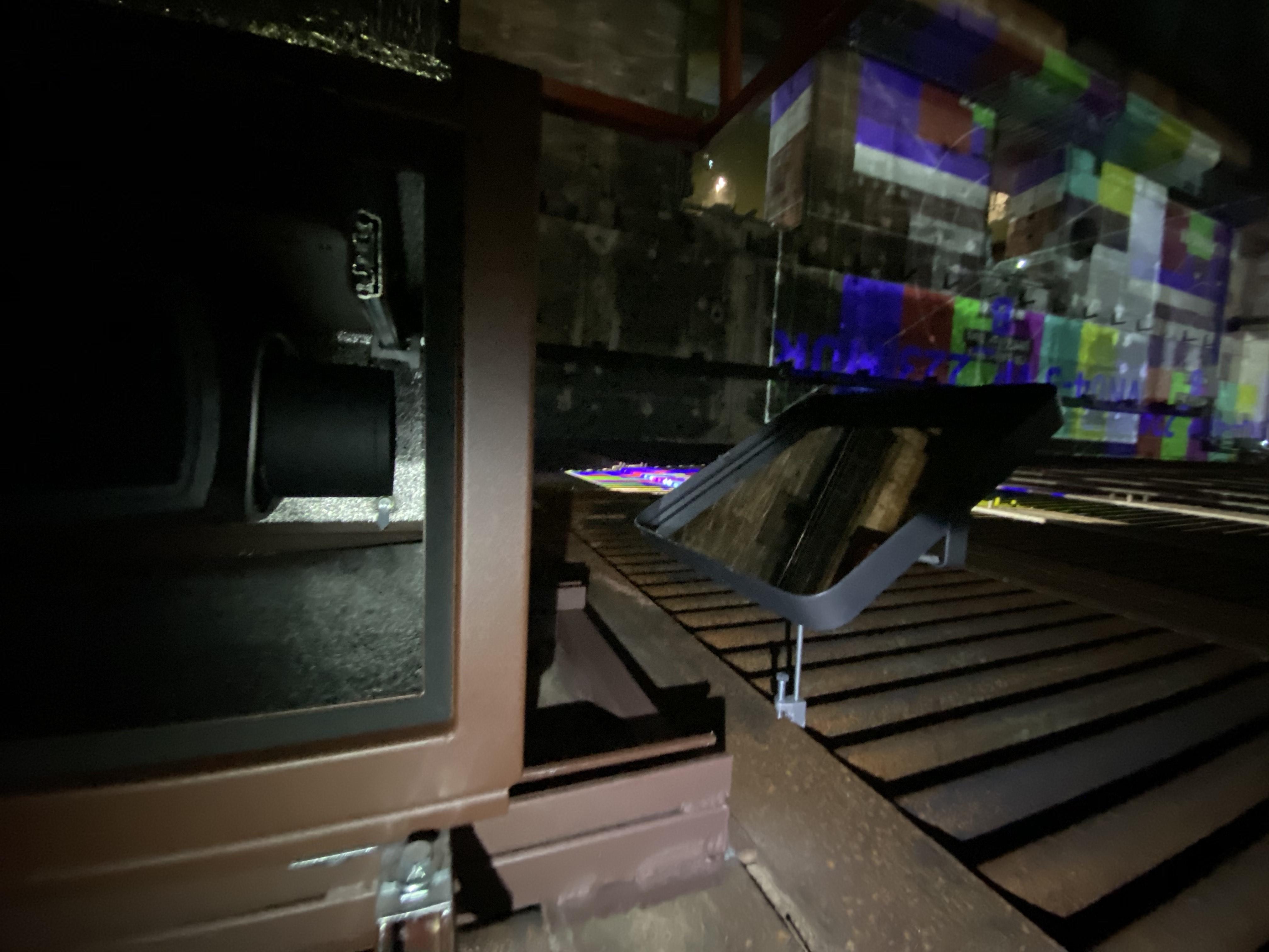 bassins de lumieres close up of projector and enclosure