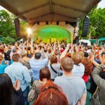 Vladimir Shahrin and Chaif rock-band perform on stage in Hermitage Garden