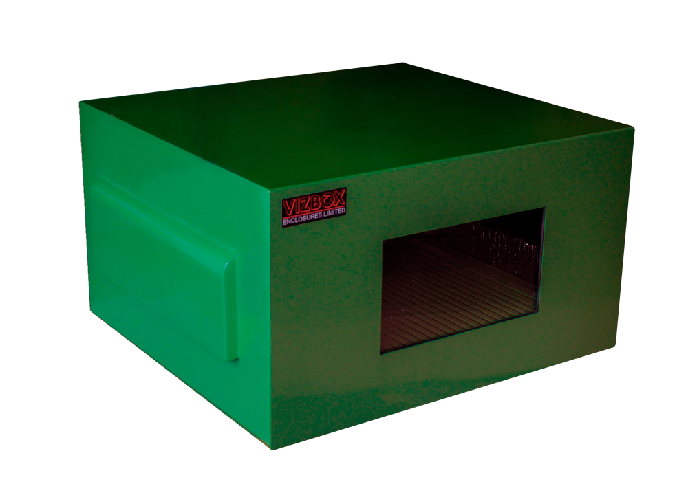 Green outdoor projector enclosure in green