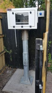 Outdoor Installation projector and enclosure securely locked