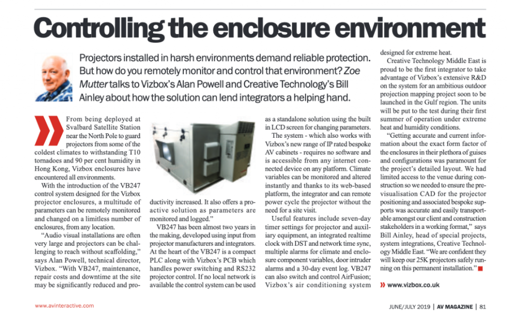 AV Mag interview VIZBOX and Creative Technology re VB247 control system launch