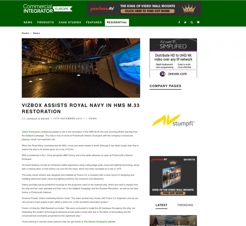 HMS 33 Commercial Integrator article december 2015